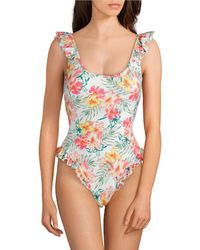 f7af66462c2 Coco Rave - Rio Or Bust Jacey Floral Print Ruffle Scoop Neck One Piece  Swimsuit -