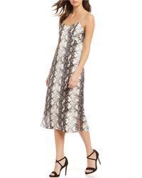 1ff35f67f9c Gianni Bini - Tana Python Snake Print Midi Length Slip Dress - Lyst