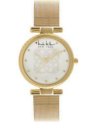 Nicole Miller - Logo-embossed Mother-of-pearl Analog Mesh Bracelet Watch - Lyst