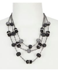 Dillard's - Three Row Glitter Bead Illusion Necklace - Lyst