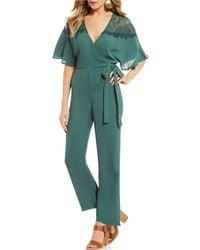June & Hudson - Faux Wrap Jumpsuit - Lyst