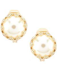 Anne Klein - Pearl Stud Clip Earrings - Lyst