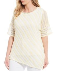 Jones New York Plus Size Stripe Print 3/4 Sleeve Asymmetrical Hem Top