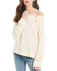 a1169103b55021 Lyst - Free People Palisades Thermal Off-the-shoulder Tunic Top in Gray