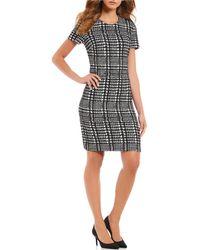 Calvin Klein - Short Sleeve Houndstooth Print Dress - Lyst