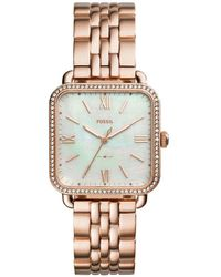 Fossil - Micah Three-hand Rose Gold-tone Stainless Steel Watch - Lyst
