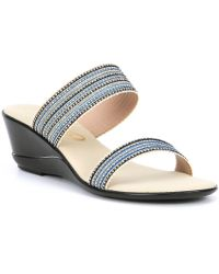 Onex - Janie Fabric And Stud Slide Wedge Sandals - Lyst