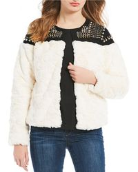 Skies Are Blue - Studded Faux Fur Bomber Jacket - Lyst