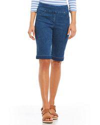 Ruby Rd. - Pull-on Extra Stretch Denim Cuffed Bermuda Shorts - Lyst