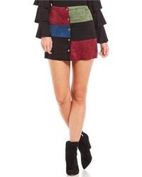 Sugarlips - Faux Suede Patchwork Mini Skirt - Lyst
