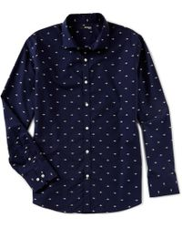 Murano - Slim-fit Solid Dobby Long-sleeve Woven Shirt - Lyst