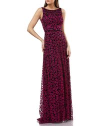 6f207e080e8 Carmen Marc Valvo - V Back Embroidered Lace Gown - Lyst