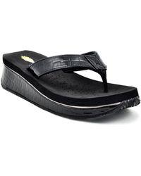 Volatile - Down Under Croco-embossed Flip-flops - Lyst