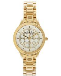 Nicole Miller - White Dial Gold Bracelet Watch - Lyst