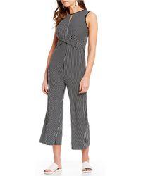 de0b39f1ad3 Sugarlips - Knit Stripe Criss Cross Cropped Jumpsuit - Lyst