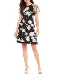 ca8b57910624 Tahari - Petite Short Sleeve Floral Embroidered Mesh Illusion Dress - Lyst