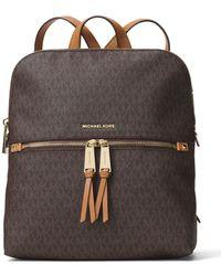 2d068f86b1bb MICHAEL Michael Kors Rhea Signature Zip Slim Backpack - Lyst