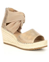 8f216e60f3450 Lyst - Eileen Fisher Open Toe Platform Wedge Sandals Draw in Natural