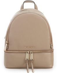 db5d92fbe025 Lyst - MICHAEL Michael Kors Rhea Small Zip Backpack in Natural