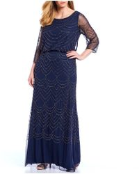 4f2d25ef Adrianna Papell Plus Size Cap-sleeve Lace Tiered Gown in Blue - Lyst