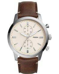 Fossil - Townsman Chronograph Leather-strap Watch - Lyst