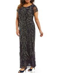 Pisarro Nights - Plus Short-sleeve Beaded Gown - Lyst