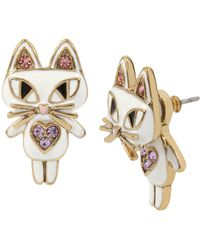 Betsey Johnson - Cat Front/back Earrings - Lyst