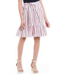 Draper James - Stripe Flounce Hem Skirt - Lyst