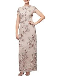 Alex Evenings - Embroidered Cap Sleeves Long Dress - Lyst