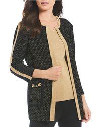 Misook - Jewel Neck Textured Knit Chain Pocket Detail Jacket - Lyst