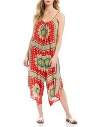 316219f3f2f2 Band Of Gypsies - Athens Printed Sleeveless Crop Jumpsuit - Lyst