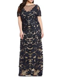 077d80c00a JS Collections - Plus Size Illusion Neck Short Sleeve Embroidered Soutache  Gown - Lyst