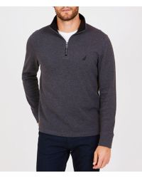 Nautica - Half Zip Mock Neck Long-sleeve Pullover - Lyst