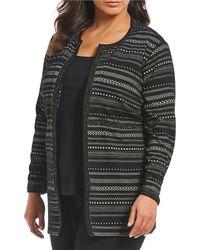 Ruby Rd. - Plus Size Ottoman Metallic Stripe Open Front Jacket - Lyst