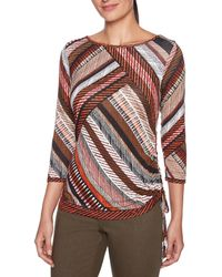 Ruby Rd. - Petite Size Stitched Diagonal Placement Print Side Ruched Knit Top - Lyst