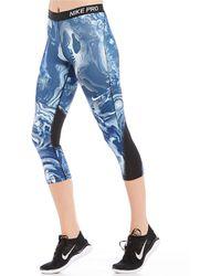 Nike - Pro Coral Print Capris - Lyst