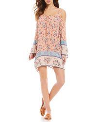 Angie - Cold-shoulder Floral Shift Dress - Lyst