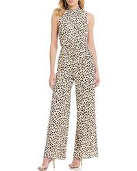 bdfd6e2a622 Sugarlips - Leopard Print Hi-neck Sleeveless Wide Leg Jumpsuit - Lyst