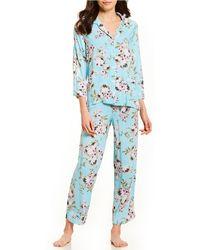 19132220921 Lyst - Miss Elaine Foulard-print Satin Pajama Set in Blue