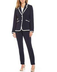 Tahari - Pebble Crepe Contrast Trim Pant Suit - Lyst