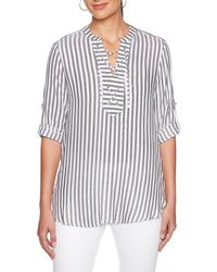Ruby Rd. - 3/4 Roll-tab Sleeve Coastal Stripe Lace Up Split V-neck Top - Lyst