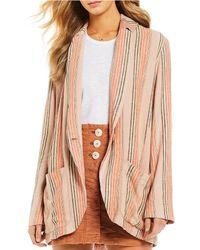 Free People - Simply Stripe Linen Blazer - Lyst