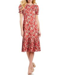 Antonio Melani - Chloe Pleated Floral Print Puff Sleeve Midi Dress - Lyst