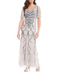 Marina Couture V-neck Cold Shoulder Beaded Long Gown - Gray