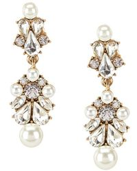 Belle By Badgley Mischka - Sweetheart Faux-pearl & Faux-crystal Chandelier Earrings - Lyst
