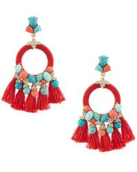 Belle By Badgley Mischka - Stone Tassel Round Drop Statement Earrings - Lyst