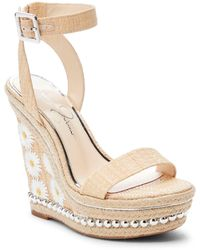 a28e66bcf8fe Jessica Simpson Avey Platform Wedge Sandals in Metallic - Lyst