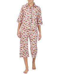 Kate Spade - Watermelon-printed Woven Capri Pajama Set - Lyst