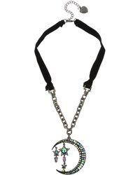 "Betsey Johnson - Hematite-tone Crystal Moon & Stars Velvet Ribbon Pendant Necklace, 20"" + 3"" Extender - Lyst"