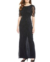 aef01b73 Adrianna Papell Petite Sequined Short-sleeve Gown in Blue - Lyst